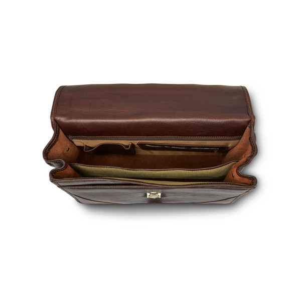 Leather Double Compartment Briefcas